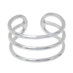 Sterling Silver 925 Style Ring With Triple Bar